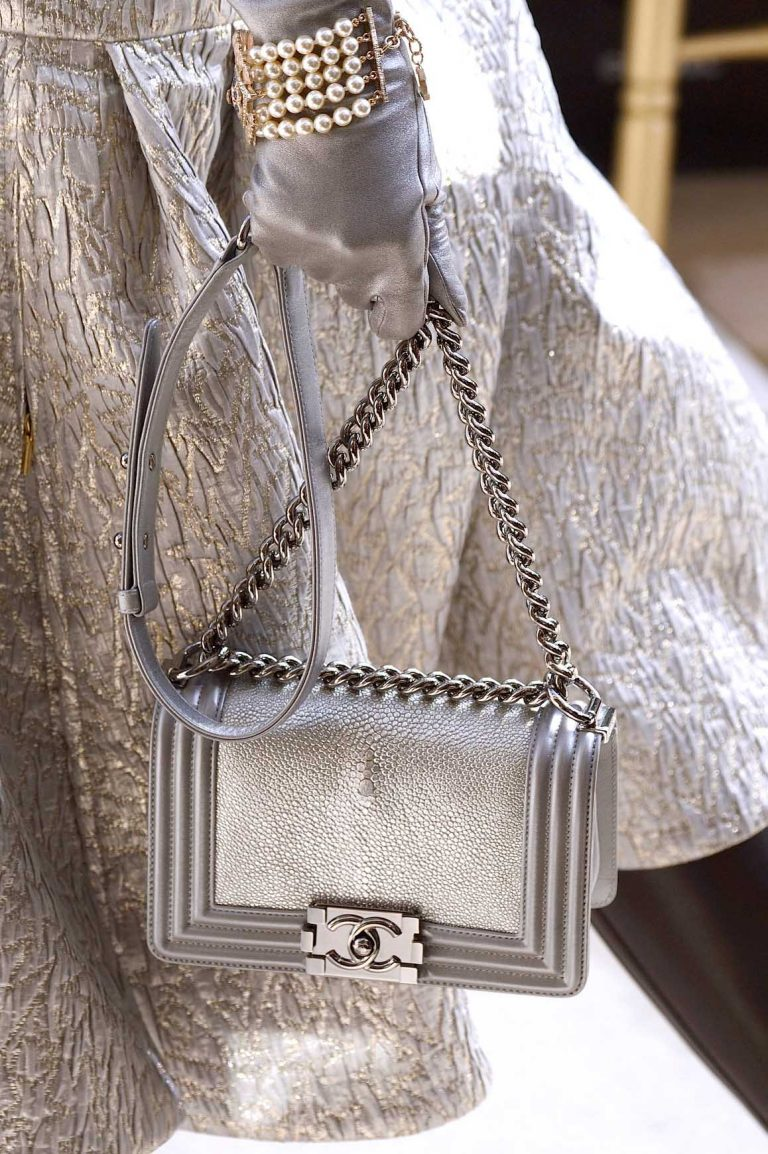 An exotic, silver Boy Bag for Chanel Fall/Winter 2016