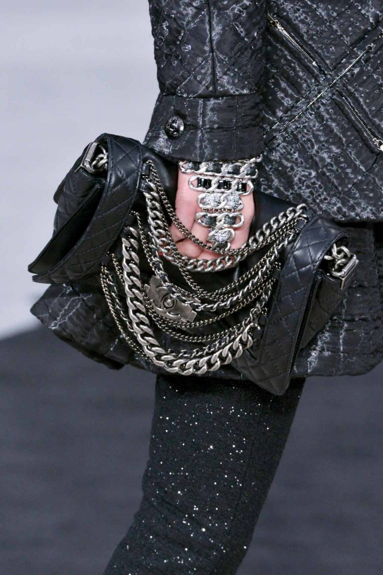 Chanel Boy Reverso Black with Chains Runway Fall/Winter 2013   Shop pre-loved luxury bags on SACLÀB