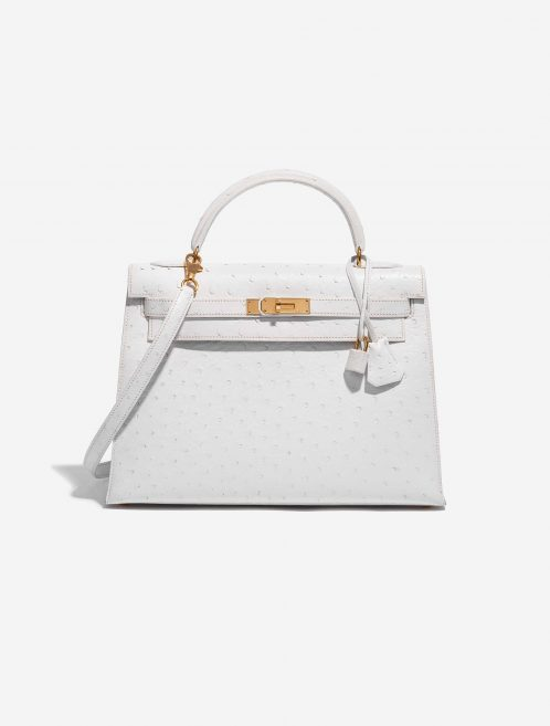 Hermès Kelly 32 Ostrich Blanc White Front | Sell your designer bag on Saclab.com