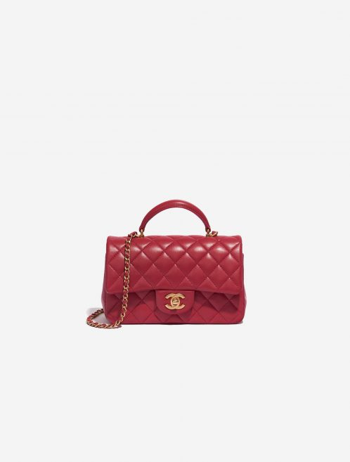 Chanel Timeless Mini Rectangular Lamb Raspberry Rose, Pink, Red Front | Sell your designer bag on Saclab.com