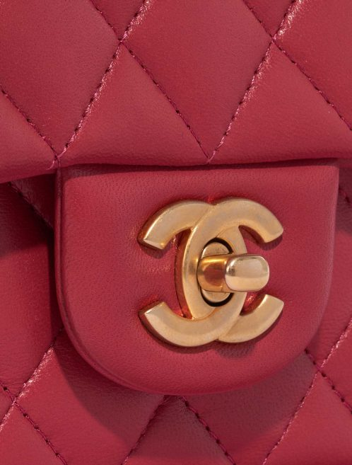Chanel Timeless Mini Rectangular Lamb Raspberry Rose, Pink, Red Closing System | Sell your designer bag on Saclab.com